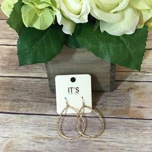 Jewelry - NWT Teardrop Matte Gold Tone Hoop Earrings
